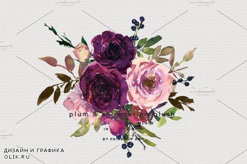 Plum & Blush Watercolor Floral Set - 4164153 - 1830900