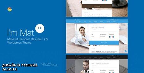ThemeForest - I am Mat v1.2 - Material Personal Resume / CV vCard WordPress Theme - 17373558