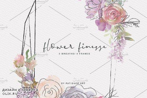 Watercolor Flower Doodles Clipart - 4174504