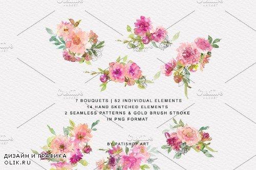 Watercolor Pink Dahlia Set - 4174931