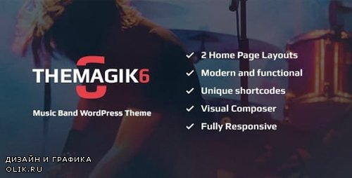 ThemeForest - The Magic 6 v1.6 - Music Band & Musician Artist WordPress Theme - 14930389