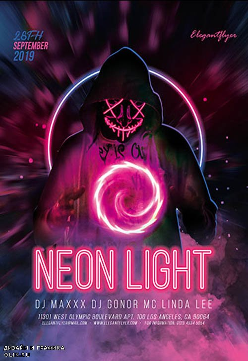 Neon Light V0410 2019 PSD Flyer Template