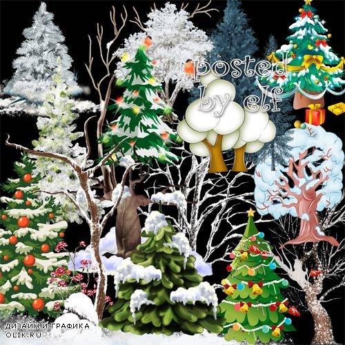 Клипарт на прозрачном фоне для дизайна - Зимние деревья и ёлки