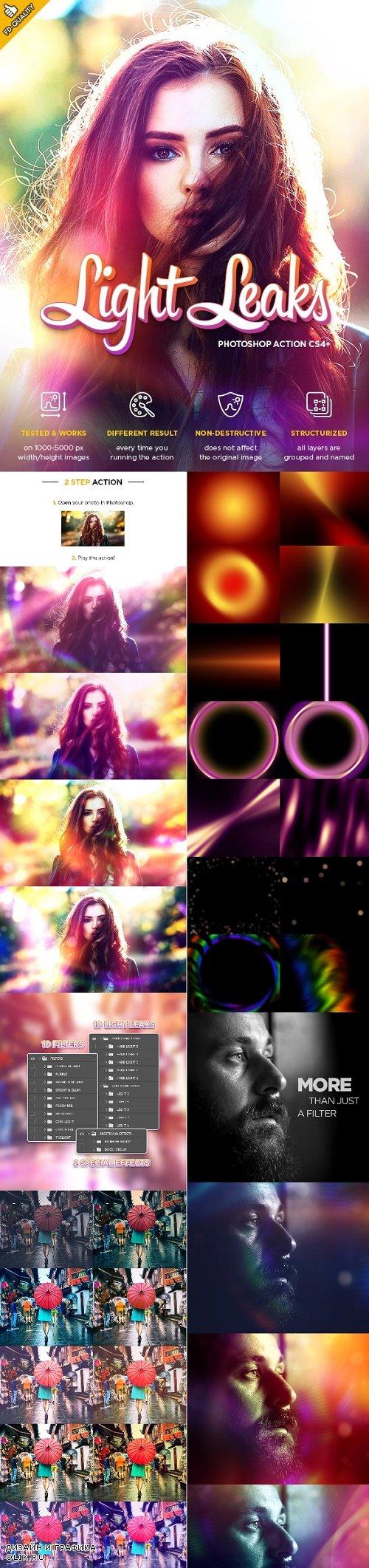 Light Leaks CS4+ Photoshop Action 24580816
