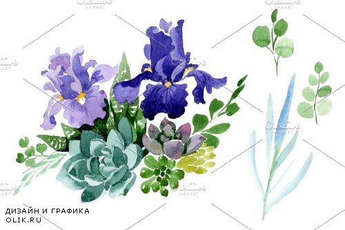 Bouquet flowers with purple irises - 4010587