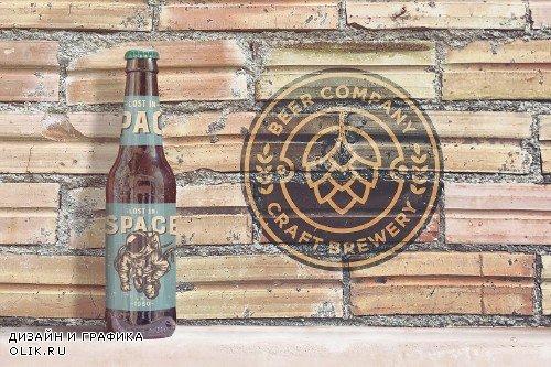Brick Backgrounds Beer Mockup - 4180456