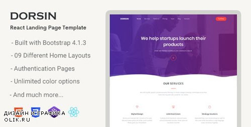 ThemeForest - Dorsin v1.0 - React Landing Page Template - 23247922