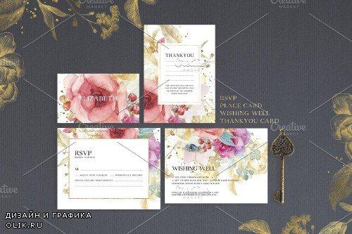 Watercolor Flowers Wedding Suite - 4260316