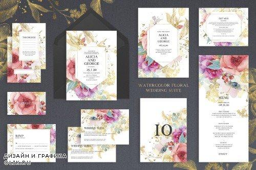 Watercolour Floral Wedding Suite - 4265774