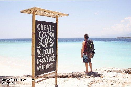 Beautiful Beach Slate Mockup - 4274954