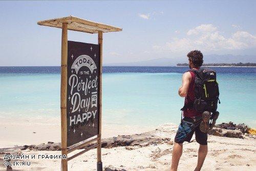 Beach Trip Black Slate Mockup - 4274948