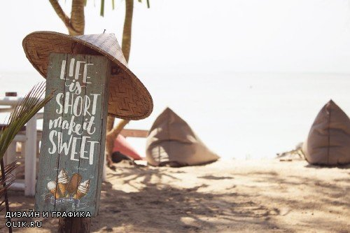 Beach Paradise Signboard Mockup - 4274946