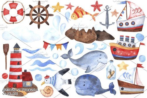 Sea Adventures watercolor set - 4285906