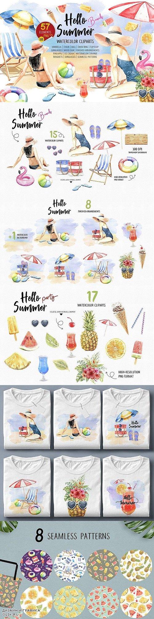 Summer Beach Party, Watercolor Women - 3914118