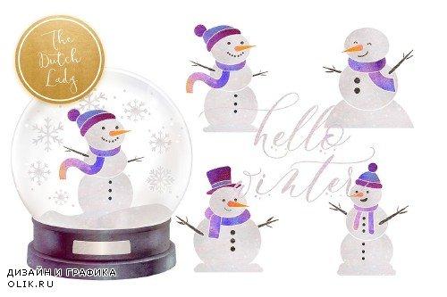 Snowman & Snowglobe Clipart Set - 4290593