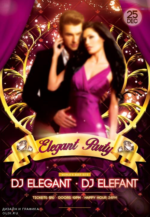 Elegant Party psd flyer template