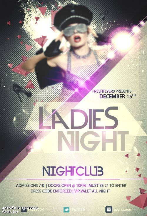 Girls night out psd flyer template