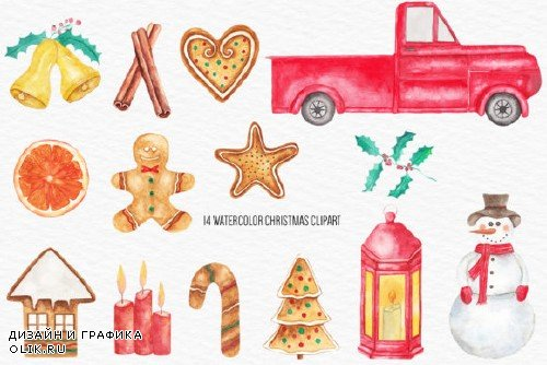 Watercolor Christmas Illustration - 4304730