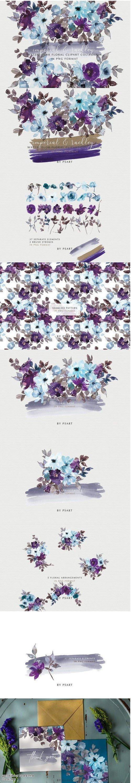 Purple & Blue Watercolor Clipart Set - 4285977