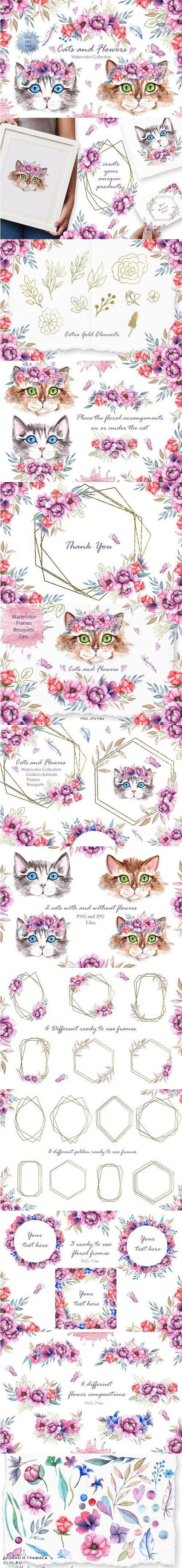 Watercolor Cats and Flowers - 4285663