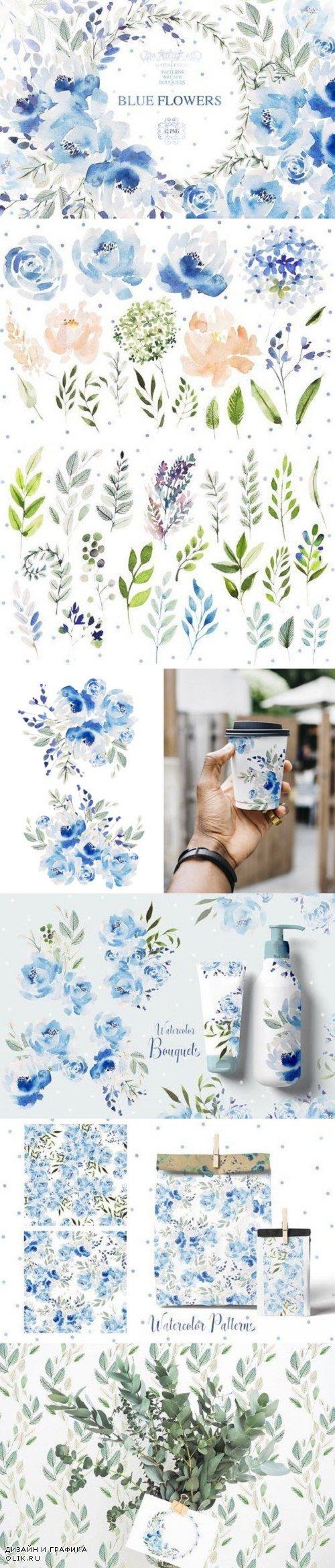 Watercolor BLUE FLOWERS - 3723209