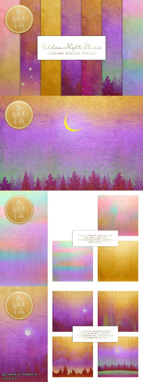 Digital Backgrounds Golden Night Sky - 4297589