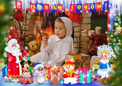 Детская рамка для фотошопа - Новогодняя