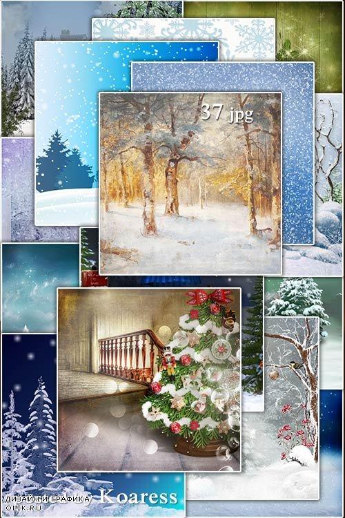 Подборка зимних растровых фонов для дизайна - Set of winter and Christmas backgrounds for design
