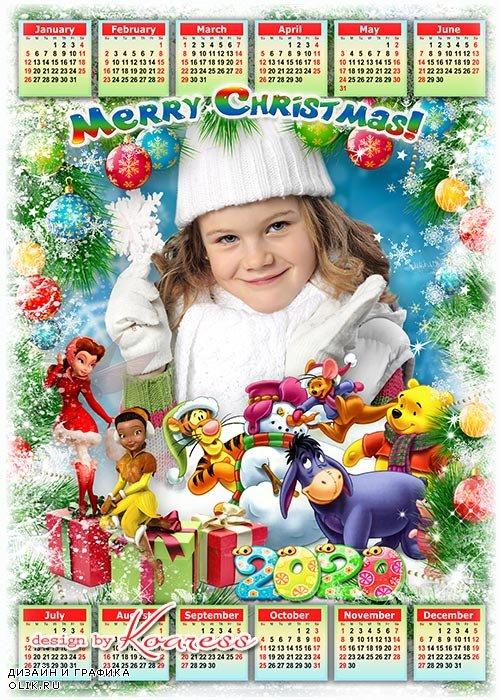 Праздничный детский календарь-фоторамка на 2020 год с героями мультфильмов Диснея - Вместе с добрыми друзьями мы встречаем Новый Год