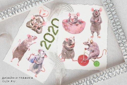 Cute Rats Watercolor Set - 3808382