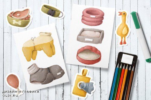 Dog items clipart collection - 4270406