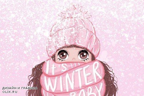 Cute girls. Winter llustrations - 2200543