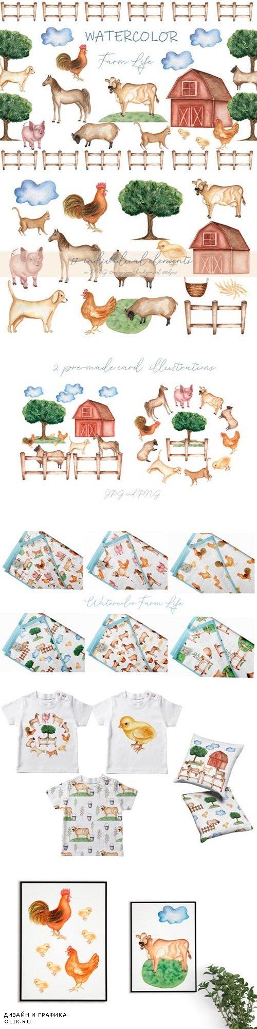 Watercolor Farm life - 3699387
