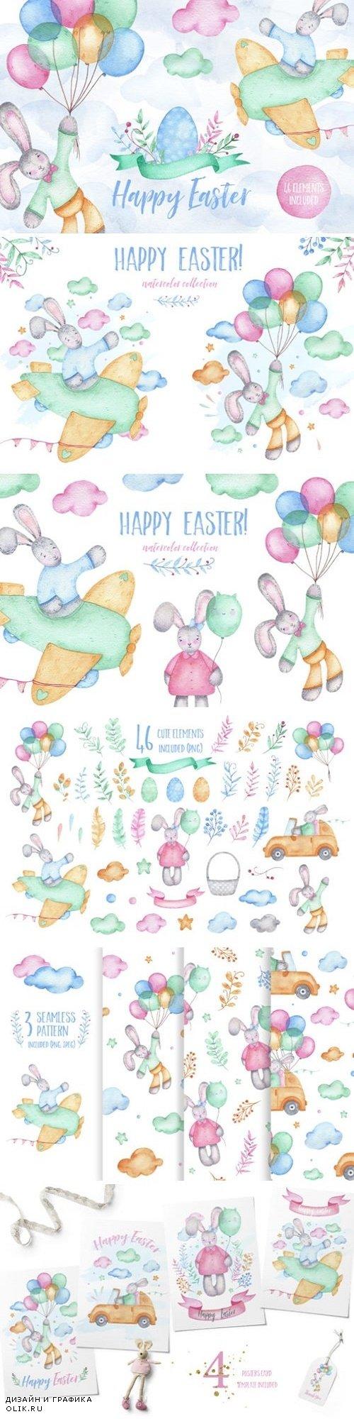 Happy Birthday - watercolor clipart - 3447005