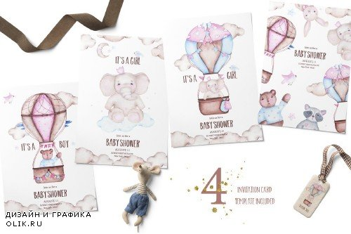 Hot airballoons watercolor clipart - 3353721
