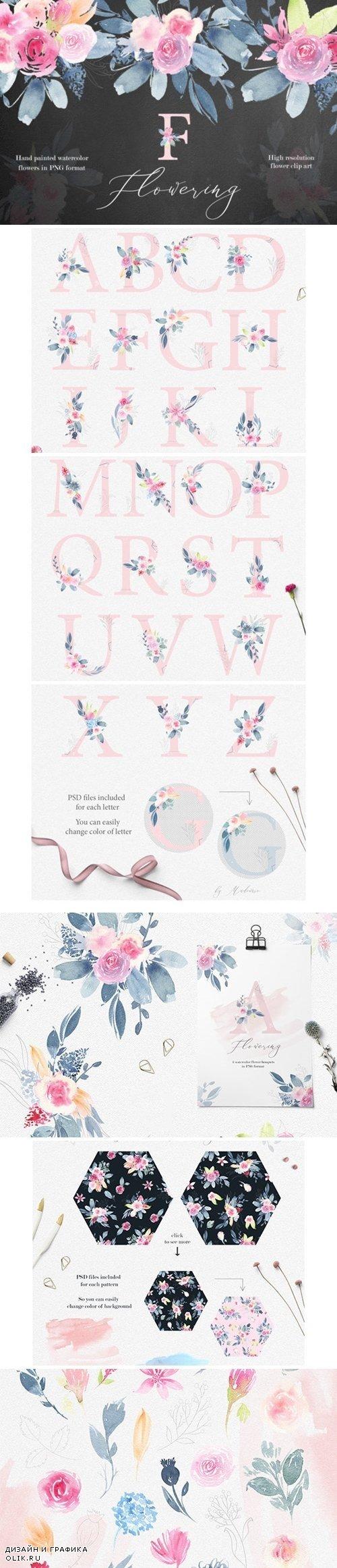 Flowering watercolor graphic set - 2558403