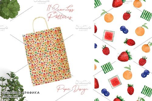 WatercolorSweets and Berries Pattern - 3781851