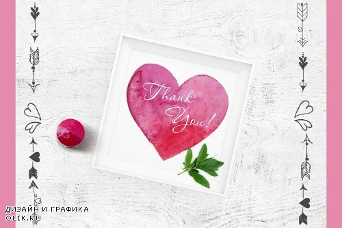 Watercolor Valentine's Day Set - 3373176