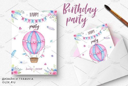 Watercolor birthday party - 1818134