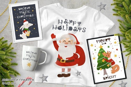 Classic Christmas. Clipart set 4383050