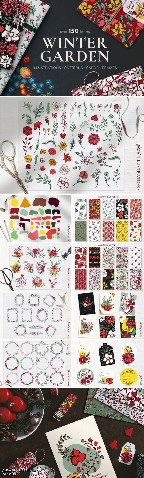 Winter Floral Patterns & Elements 4349281