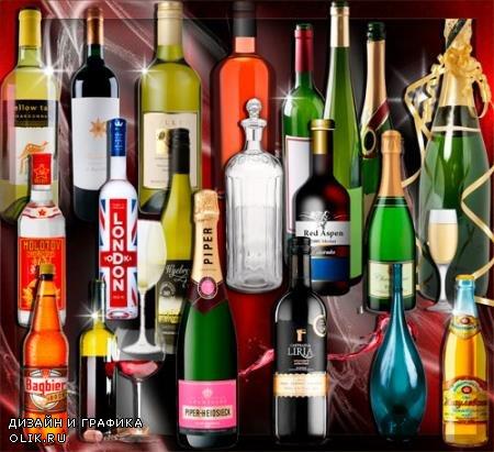 Клипарты для фотошопа - Стеклянные бутылки