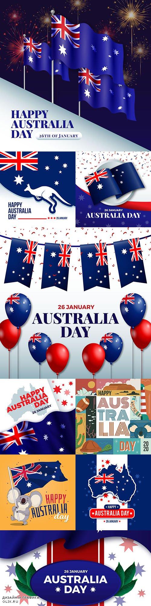 Happy Australia day holiday design illustrations