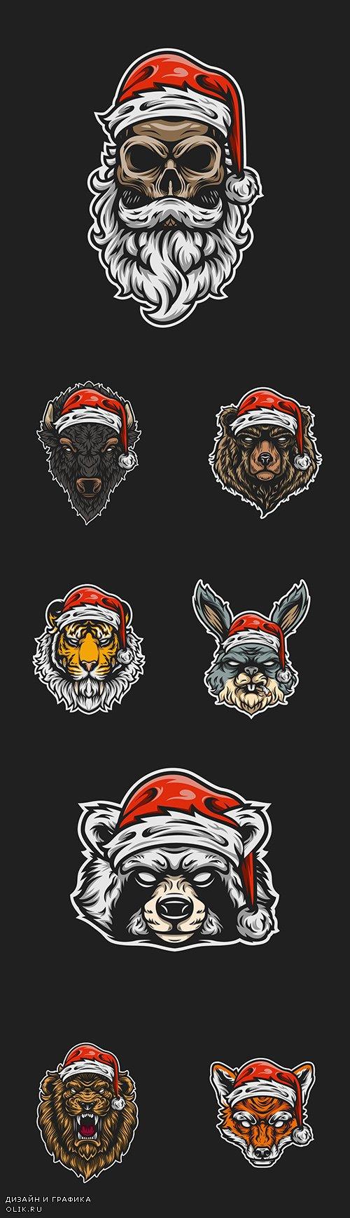 Head animals in cap of Santa painted illustrations