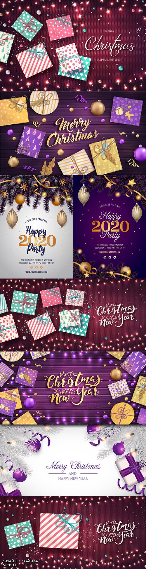 Merry Christmas and New Year background decorative 33