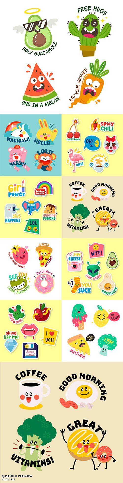 Stickers funny characters with inscriptions illustrations 3