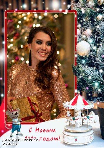 Рамка для фотошопа - В наши двери стучится Новый год
