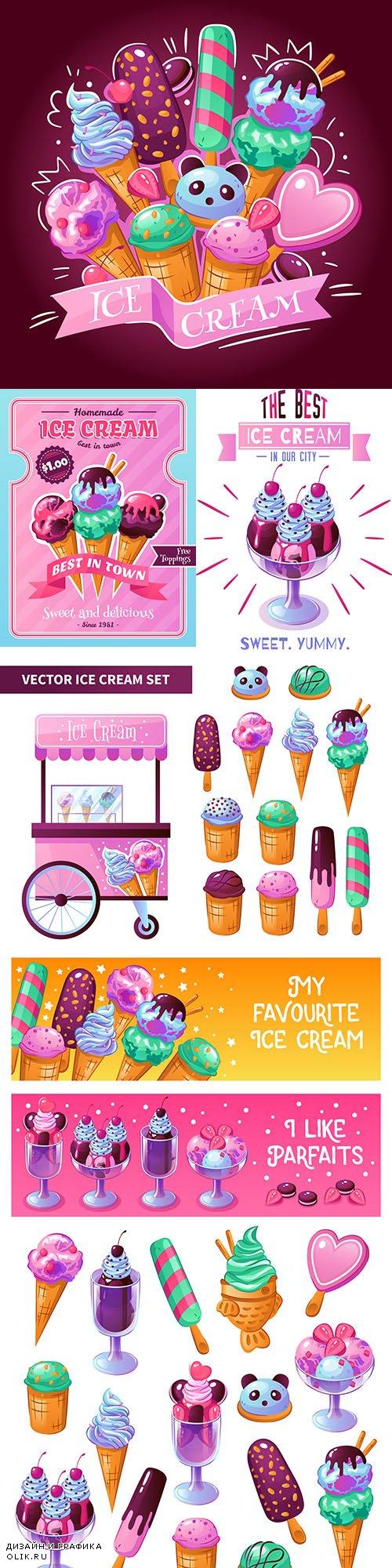 Ice cream delicious dessert decorative design emblem