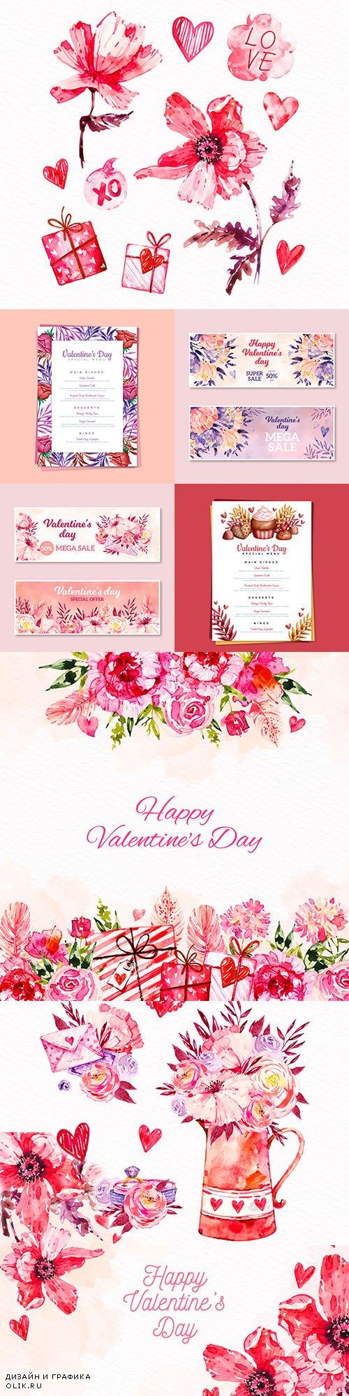 Valentine's Day romantic watercolor decorative illustrations 11