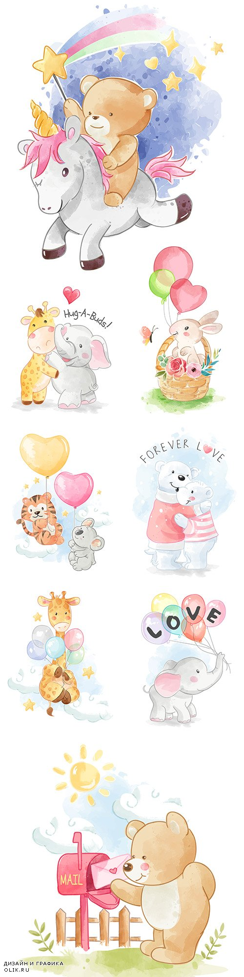 Funny animals drawing cartoon watercolor illustrations 15